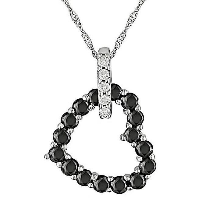 Miadora 10k Gold 3/4ct TDW Black and White Diamond Heart Pendant