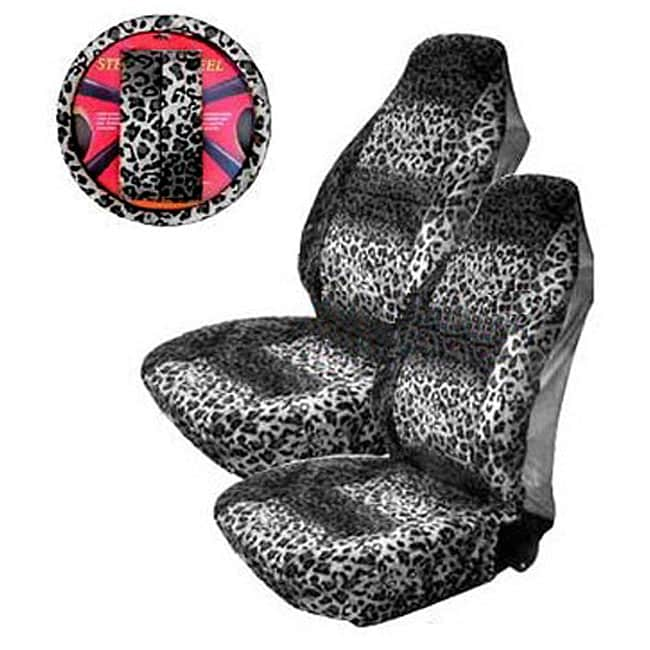 Snow Leopard Print 5-piece Car Accessories Set