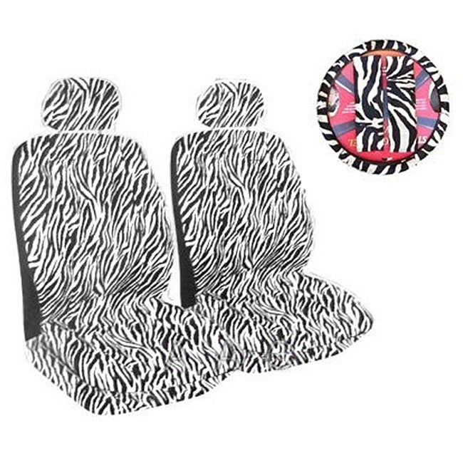 Black/ White Zebra Print 7-piece Car Accessories Set