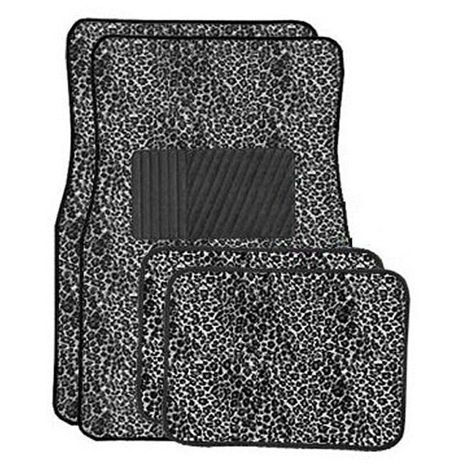 Grey Cheetah Front and Rear Carpet Car Floor Mats