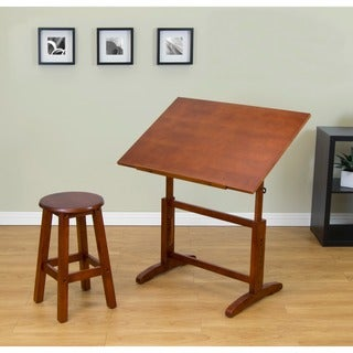 Great Studio Designs Creative Wood 32 Inch Wide Drafting Table With Stool Set