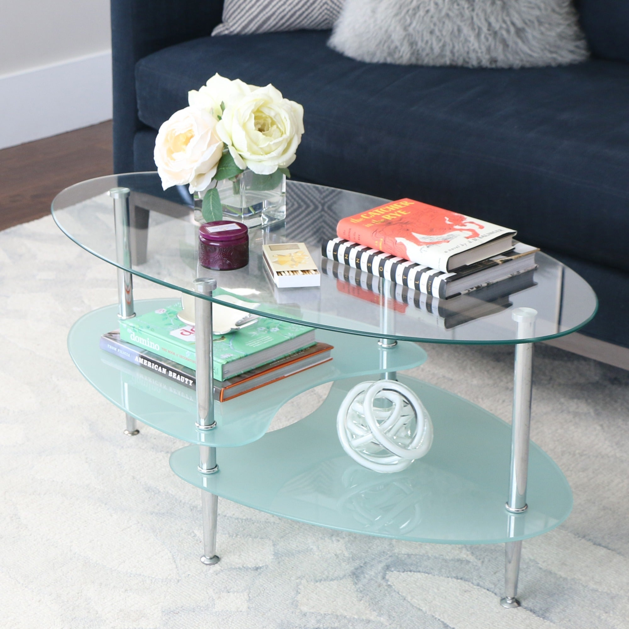 Modern Frosted Glass 38 Inch Coffee Table
