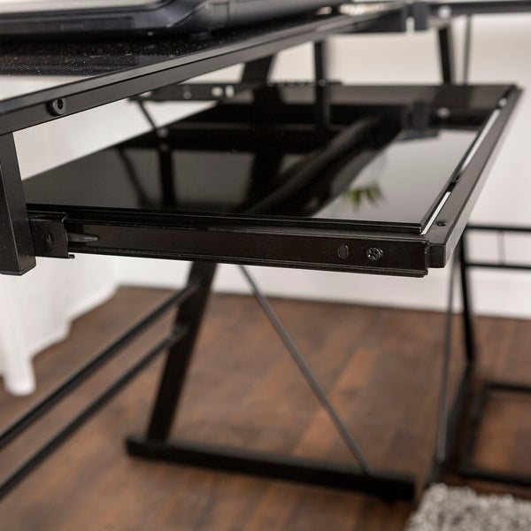 L Shape Corner Black Glass Computer Desk   Free Shipping Today    Overstock.com   11527597