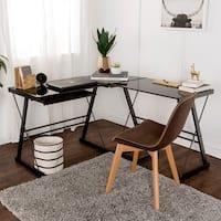 Clay Alder Home Hardy L-shape Corner Black Glass Computer Desk