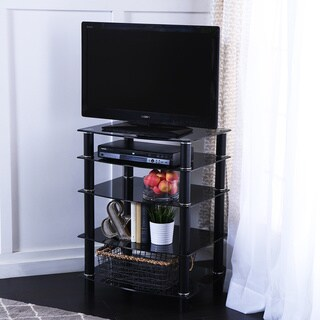 Black Glass Component Media Stand