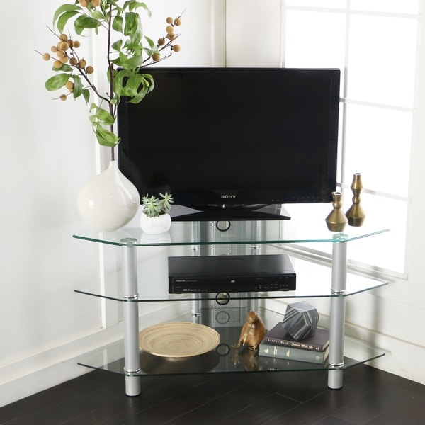 Shop Glass Metal 44 Inch Corner Tv Stand Free Shipping Today