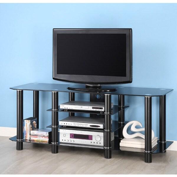 Black Glass 60-inch TV Stand