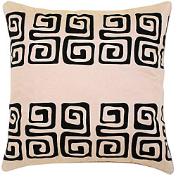 Beige/ Black Swirl Design Cushion Cover
