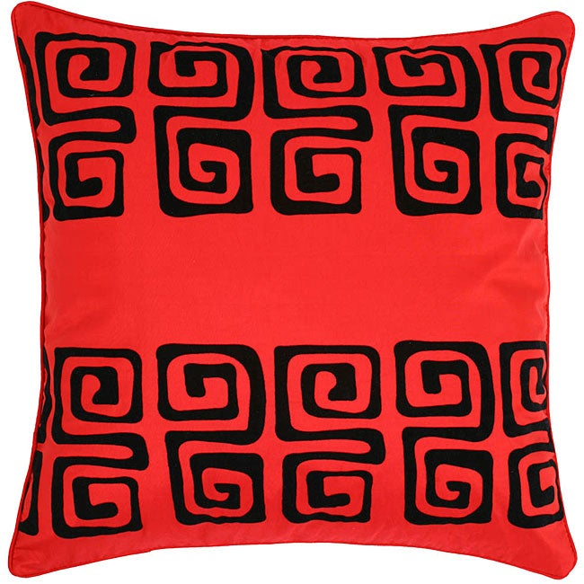 Red/ Black Swirl Design Cushion Cover