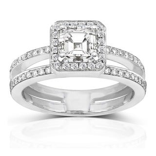Annello by Kobelli 14k Gold 1 1/3ct TDW Asscher Diamond Engagement Ring