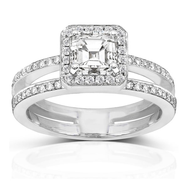 Annello by Kobelli 14k Gold 1 1/3ct TDW Asscher Diamond Engagement Ring (H-I, SI1-SI2)
