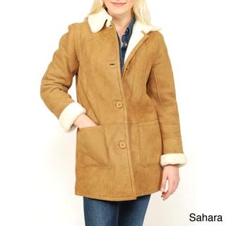 Women's Button-front Shearling Car Coat