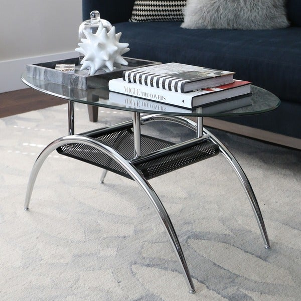 Shop Glass Coffee Table With Black Shelf