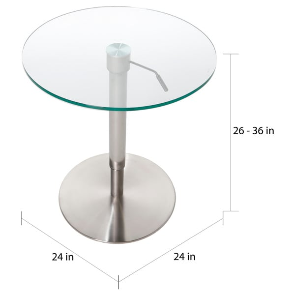 Krib Round Glass Adjustable Height Pub Table   Free Shipping Today    Overstock.com   11532026