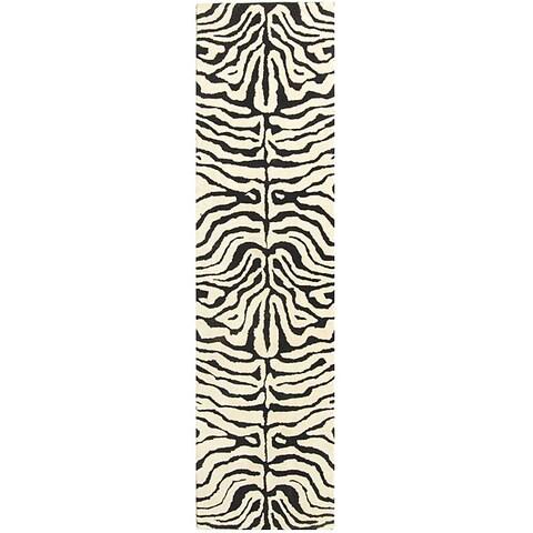 """Safavieh Handmade Soho Zebra Ivory/ Black N. Z. Wool Runner - 2'6"""" x 8'"""