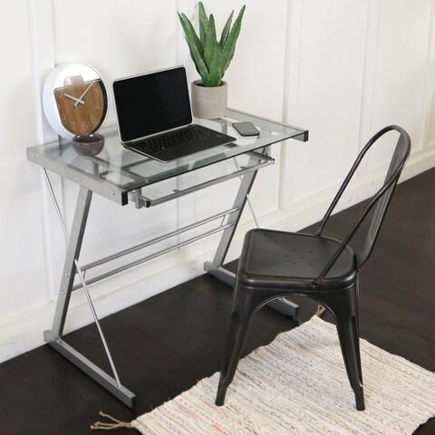 Contemporary Silver Metal Glass Computer Desk