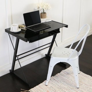 separation shoes 6fde5 893e0 Compact Metal and Glass Computer Desk - Black | Overstock.com Shopping -  The Best Deals on Desks