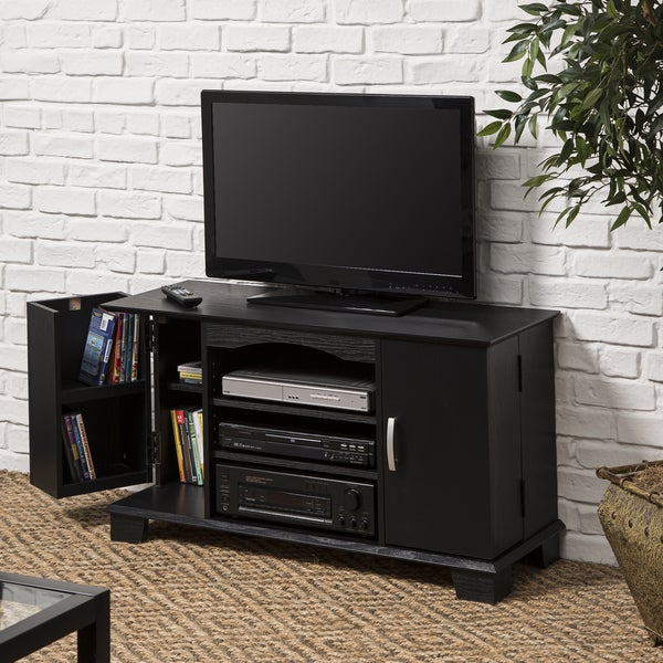 42 in. Black Wood TV Stand