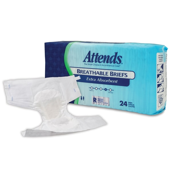 Attends Extra Absorbent Breathable Briefs, Regular (Case of 72)