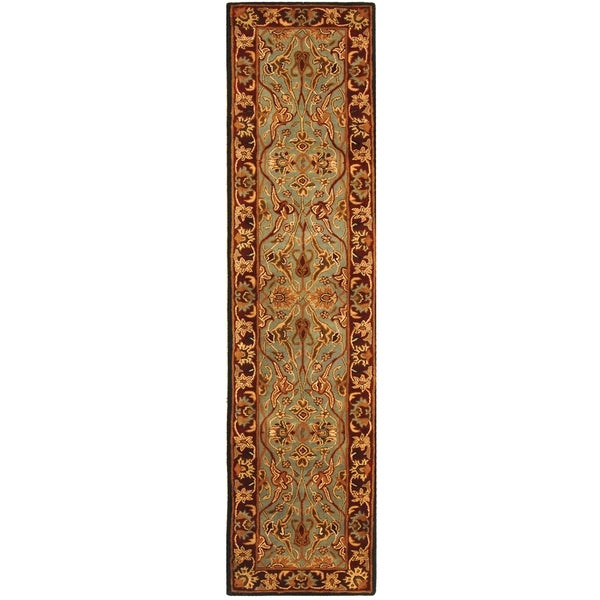 Safavieh Handmade Heritage Timeless Traditional Blue/ Red Wool Runner (2'3 x 8')