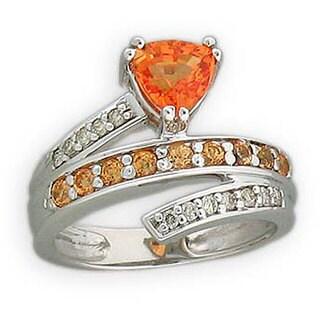 Michael Valitutti 14k Gold Spessarite/ Garnet/ 1/6ct TDW Diamond Ring (Option: 14)