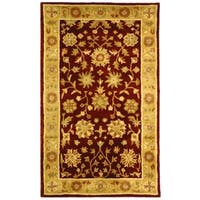 Safavieh Handmade Heritage Traditional Kashan Burgundy/ Beige Wool Rug - 2' x 3'