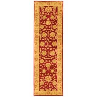 Safavieh Handmade Heritage Traditional Kashan Burgundy/ Beige Wool Runner (2'3 x 8')