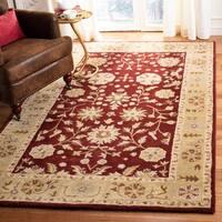 "Safavieh Handmade Heritage Traditional Kashan Burgundy/ Beige Wool Runner - 2'3"" x 8'"