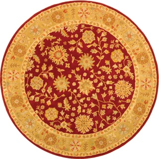 Safavieh Handmade Heritage Traditional Kashan Burgundy/ Beige Wool Rug (6' Round)