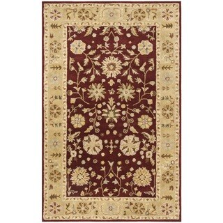 Safavieh Handmade Heritage Traditional Kashan Burgundy/ Beige Wool Rug - 6' x 9'