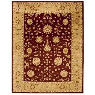 Safavieh Handmade Heritage Traditional Kashan Burgundy/ Beige Wool Rug (8'3 x 11')