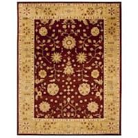 """Safavieh Handmade Heritage Traditional Kashan Burgundy/ Beige Wool Rug - 8'3"""" x 11'"""