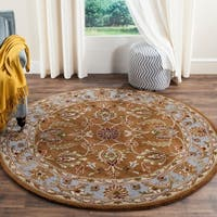 Safavieh Handmade Heritage Timeless Traditional Brown/ Blue Wool Rug - 6' x 6' Round