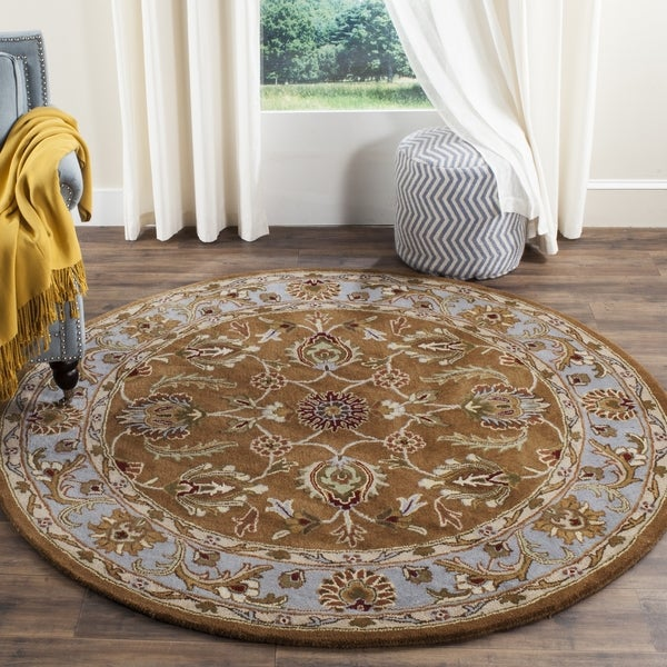 Safavieh Handmade Heritage Timeless Traditional Brown/ Blue Wool Rug (6' Round)