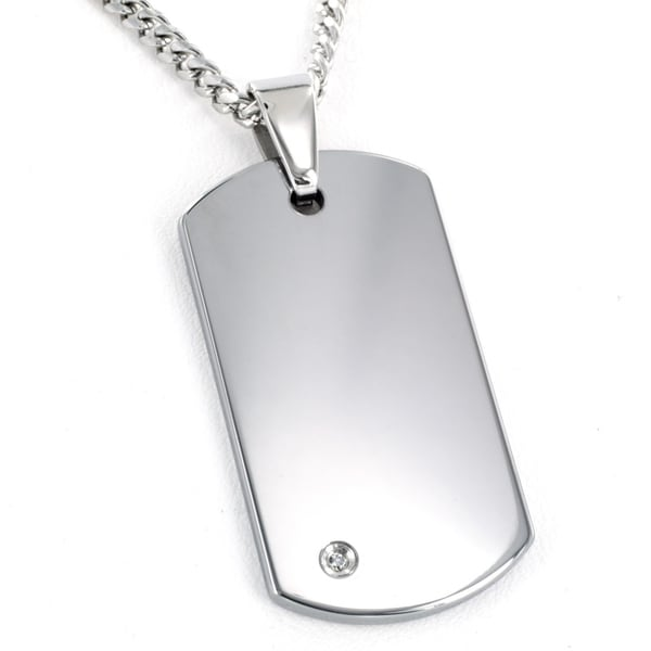 Crucible Tungsten Carbide Diamond Accent Dog Tag Necklace. Opens flyout.
