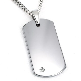 Crucible Men's Tungsten Carbide Diamond Accent Dog Tag Necklace