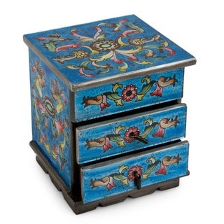 Celestial Blue Flowers Chest Style Handmade Reverse Glass Jewelry Box (Peru)