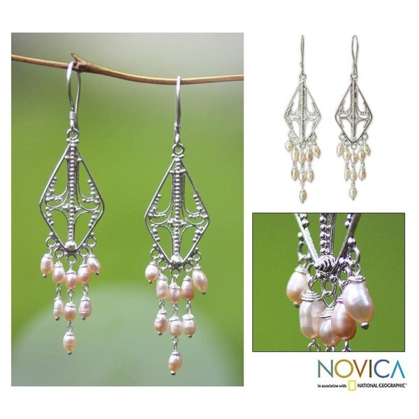 Handmade Sterling Silver 'Pink Iridescence' Pearl Earrings (Indonesia)