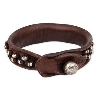 Mountain Rock Bohemian Burnished Leather with 925 Sterling Silver Hill Tribe Beads and Bell Womens Wristband Bracelet (Thailand)