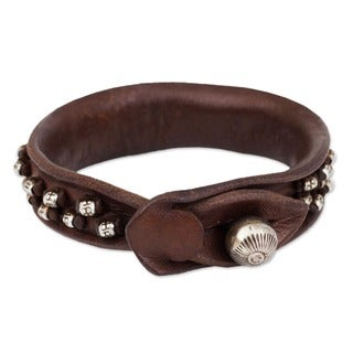 Handmade Mountain Rock Bohemian Burnished Leather with 925 Sterling Silver Hill Tribe Beads and Bell Womens W (Thailand)