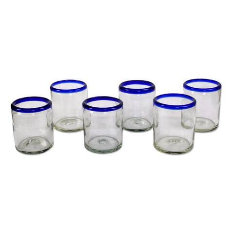 Handmade Cobalt Rings Glass Set of 6 Tumblers