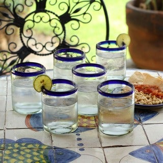 Handmade Set of 6 Cobalt Rings Glass Tumblers (Mexico)
