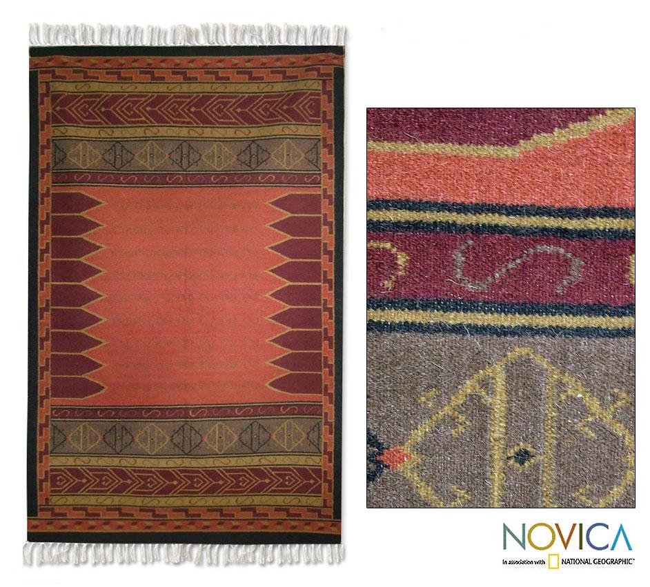 Handmade Contemporary Indo Crisp Coral Wool Area Rug (5 x 8) (INDIA)