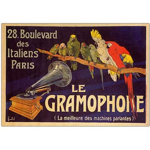 'Le Gramophone' Framed Canvas Art