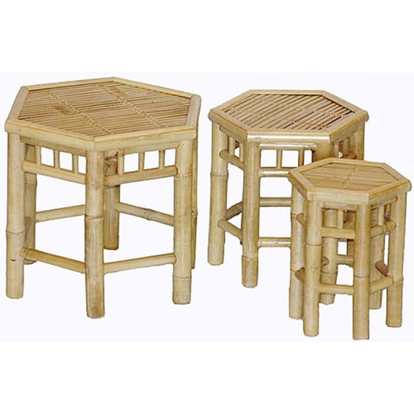 Handmade Set Of 3 Nesting Hexagon Bamboo Tables Vietnam