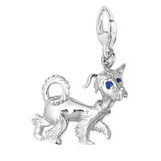 Sterling Silver Sapphire Whimsical Dog Charm