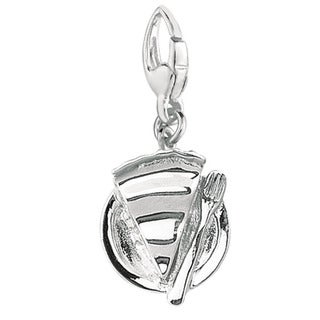 Sterling Silver Slice of Pie on a Plate Charm