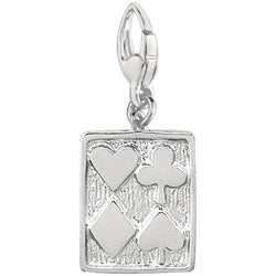 Sterling Silver Four Suit Card Charm