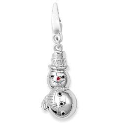 Sterling Silver Enamel Snowman Charm