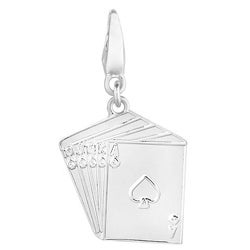 Sterling Silver Straight Flush of Spades Charm